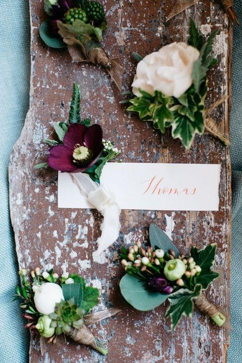 Botanical+Ivy+Boutonnieres+in+Plum+and+Ivory+ +Alisha+Maria+Photography+ +http://heyweddinglady.com/modern-indoor-garden-wedding-elegant-ballroom/