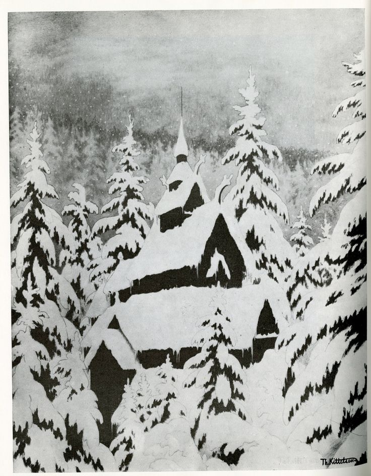 Theodor Kittelsen, 1907, Stave Church In Snow