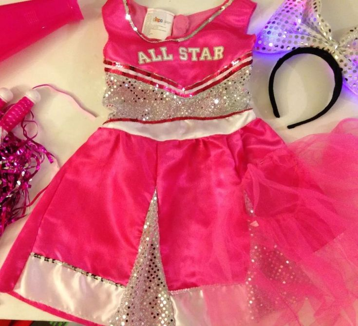 Circo 4-6x Girls Pink and Silver Cheerleader Costume Pretend Dress Up & Extras  | eBay