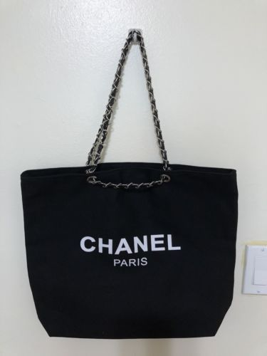 a2d04e3774372a New Chanel VIP Gift Canvas Tote Shopping Bag Black SILVER Chain Travel