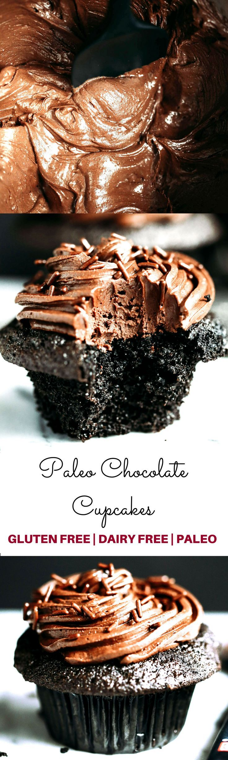 Paleo chocolate cupcakes-moist, but not eggy! These paleo cupcakes have a rich, dark chocolate taste and are covered in a whipped dairy free refined sugar free chocolate frosting! Coconut flour cupcakes. Best easy Paleo cupcakes. Paleo cupcakes recipes. G