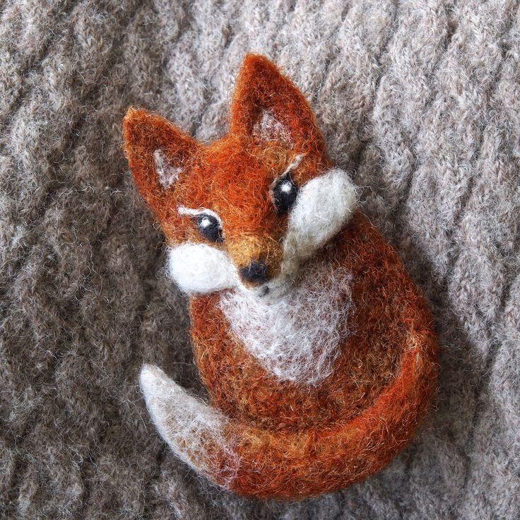 needle felted fennec fox brooch - needle felted jewellery - sleeping fennec fox…