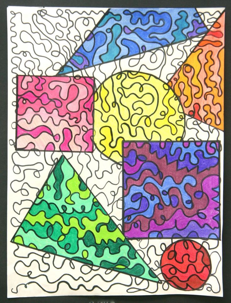 Great substitute lesson idea for art: Splish Splash Splatter:- ONE continuous line until paper is full. Then trace shape and color in monochromatic.- my class loved this!