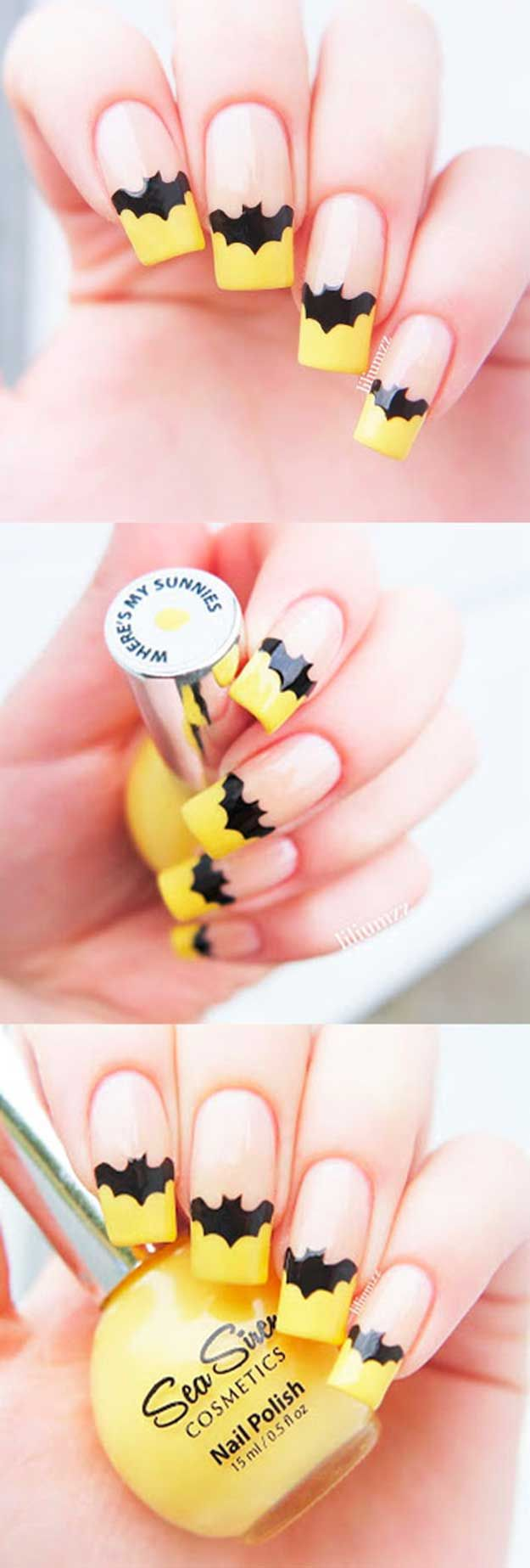 French Nail Art with a Twist - French Nail Art With Unique Design- Yellow Bat-Nails - Yellow Batnails Best French Manicure Tutorials To Do At Home - DIY Scalloped French Nails - Nail Art Designs and Ideas - Awesome DIY Tutorials and Step By Step Guides on How To Do the Perfect French Manicures - Articles on Easy Nailart Style Designs and Polish Products - Get Your Nails Looking Like They Came Out of The Top Salons - https://thegoddess.com/french-manicures-at-home