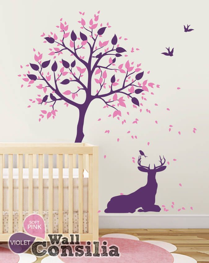 Forest Inspired Deer Nursery Tree Decals Baby Boy Wall