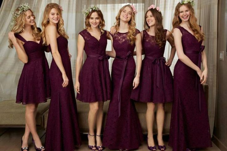 2016 Purple Long Lace Bridesmaid Dresses Mermaid Custom Made Stunning Convertible Style Junior Wedding Party Gowns Long Floor Length