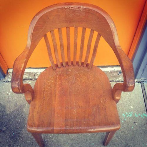 Antique Vintage Lawyers Bankers Library Oak Desk Barrel Back Arm Chair ~  Unique