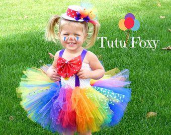 Clown Tutu SEWN tutu Rainbow tutu by trendylittlecreation