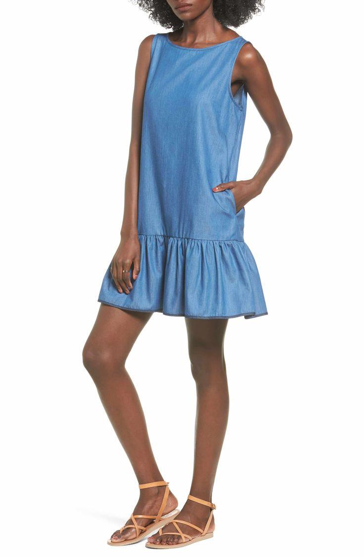 Main Image - BP. Chambray Drop Waist Dress