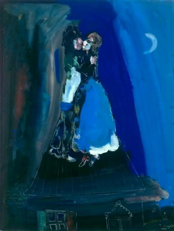 Chagall, lovers on the roof, 1927