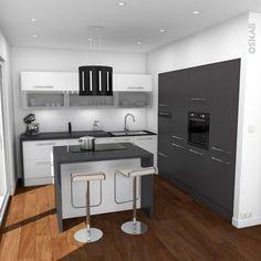 Petite cuisine moderne grise avec îlot central  http://www.homelisty.com/cuisine-avec-ilot-central-43-idees-inspirations/