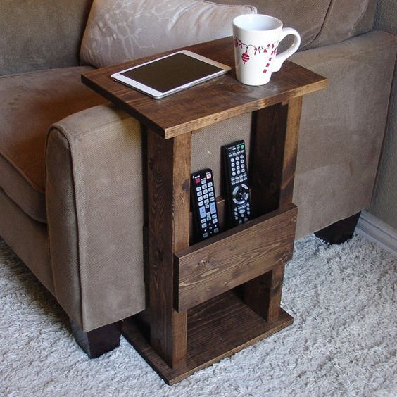 Handcrafted tray table stand with storage pocket. The perfect addition to a sofa chair in any home, apartment, condo, or man cave.  It has been sanded: