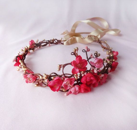 gold pink flower hair accessory pink flower by thehoneycomb, $110.00