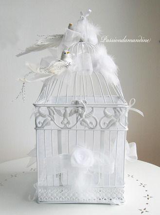 Cage urne de mariage blanche avec oiseaux  : Autres accessoires par passiondamandine