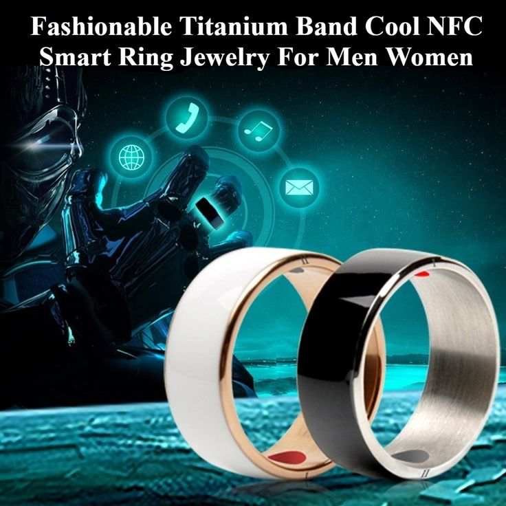 Fashionable Titanium Band Cool NFC Smart Ring Jewelry For Men Women Black Size 7