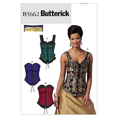 Butterick 5662 Sewing Pattern Misses' Boned Corset - 4 Styles - Lace up Front