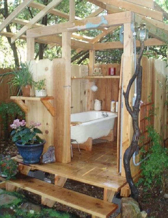 Sure wouldn't take 5 grand to build this yourself. I like it. very cute. Outdoor Bathhouse. $5,000.00, via Etsy.