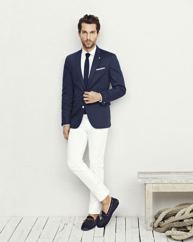 Navy Blue Blazer Jacket, White Pants, White Shirt, Navy ...