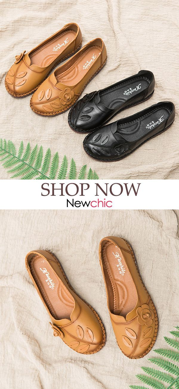 bf0f28bb4 【45% OFF】Large Size Women Comfortable Genuine Leather Flowers Round Toe  Mother Flats Shoes