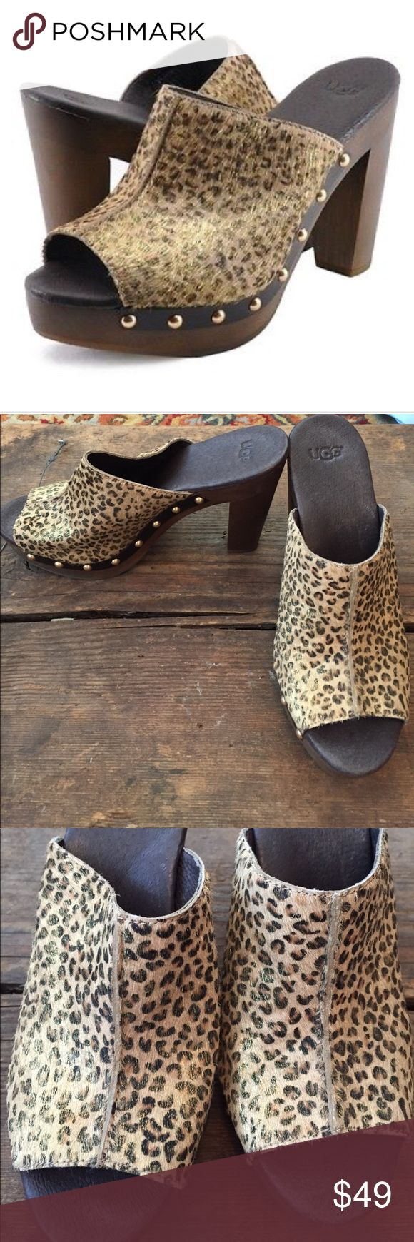 Wow! Ugg Sklyer Calf Hair Metallic Leopard Heels! In very good condition! SIZE 7.      Retail $150  4.25-in. wood heel with 1.25-in. platform  Fully leather-lined mule Molded-rubber outsole Calf hair Imported UGG Shoes Mules & Clogs