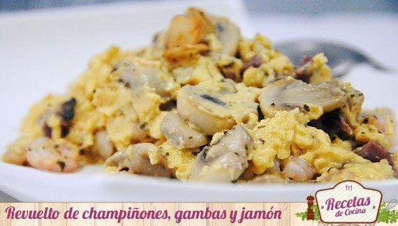 Revuelto de champiñones, gambas y jamón -  Los revueltos nos invitan a jugar con los ingredientes; hongos, crustáceos y verduras se encuentran entre los ingredientes mas habituales en su elaboración. El que mas se repite en casa es sin duda el revuelto de champiñones, jamón y gambas; una combinación simple y exquisita al mismo tiem... - http://www.lasrecetascocina.com/2014/01/26/revuelto-de-champinones-gambas-y-jamon/