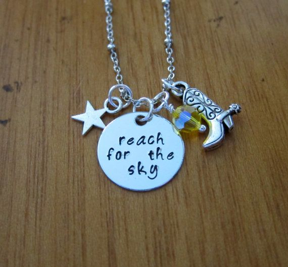 "Toy Story Inspired Necklace. Sheriff Woody ""Reach for the Sky"". Swarovski crystal, for women or girls."