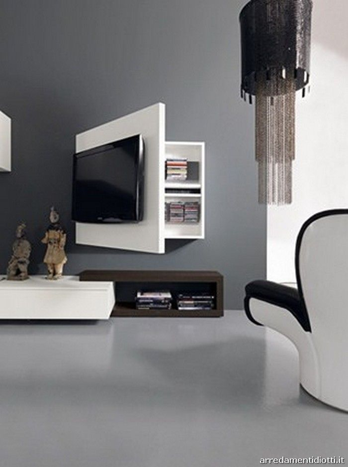 Sala Tv Minimalista ~ Soggiorno Creative Side libreria bicolore  DIOTTI A Arredamenti