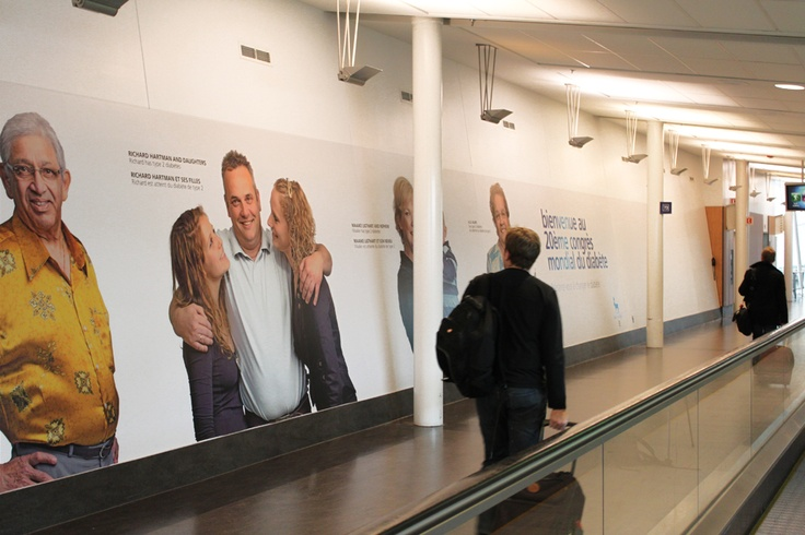 Advertising on Montreal-Trudeau Airport's walls, columns and windows by Novo Nordisk. #Airport #Aeroport #Furniture #AstralOutOfHome #AstralAffichage #Publicite #Advertising #Ads #Billboard #PanneauAffichage #Montreal