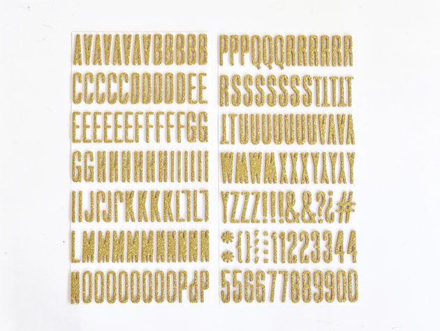 ステッカー アルファベット・数字・記号 グリッターゴールド - AMERICAN CRAFTS
