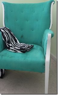 Lots of examples of painted fabric chairs. Beach up a chair with paint! Tutorial here: http://www.hypheninteriors.com/2011/03/painted-upholstery-process-revealed.html