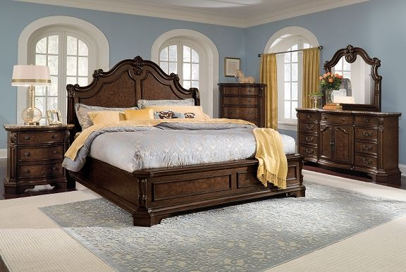 American Signature Furniture Monticello Pecan Bedroom Collection Redecora