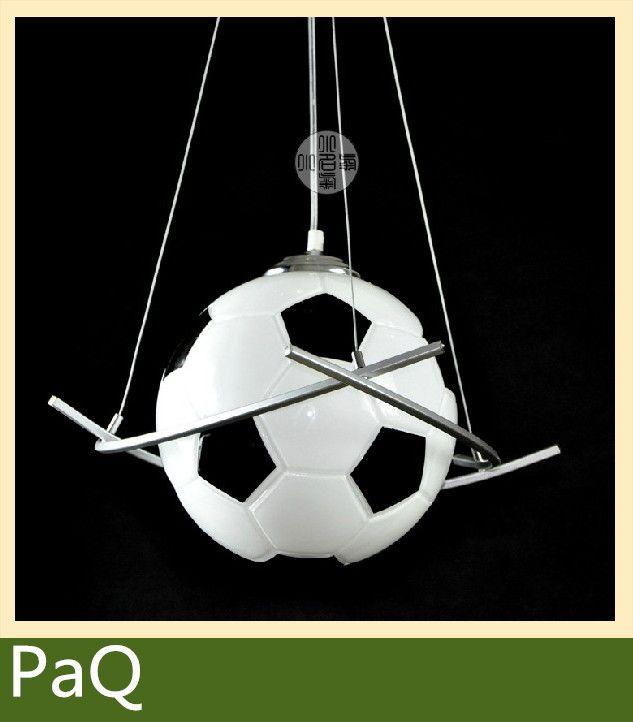 Футбол лампы люстра детская комната освещение мальчики диаметр 25 см футбол кулон спальня висит светодиодные светильники