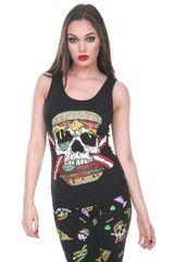 Jawbreaker Zombie Skull Burger Tie Back Top - 1713