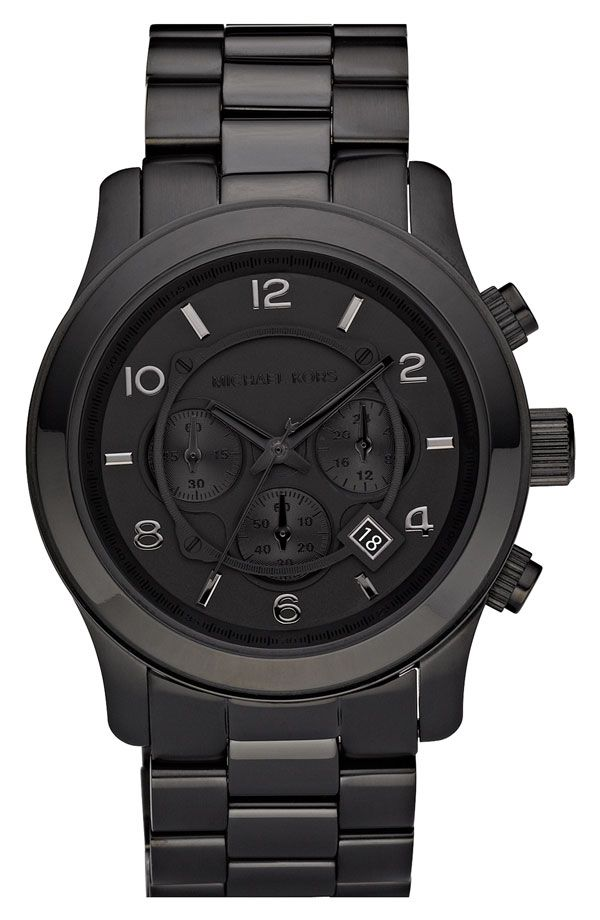 Michael Kors 'Blacked Out Runway' Chronograph Watch