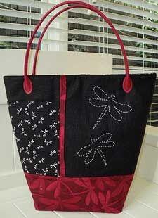 Simple bag with sashiko design