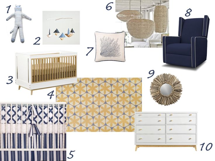 Nursery design in navy, white and gold -- love this color scheme, looks very clean and modern.