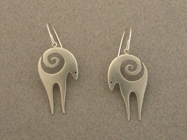 Ahlene Welsh, antelope earrings, 2012; sterling silver