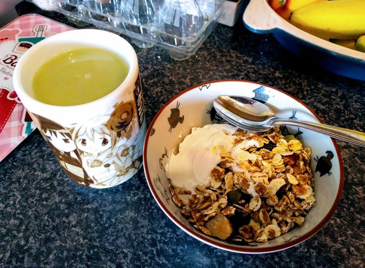 Greek Yoghurt Nutty Muesli Matcha Coconut Latte plus my Weaboo Mug 346 calories 12g protein #goodnutrition #physicalactivity #goodfood #vegetables #JuicePlus #healthymeal #healthyfood #healthy #health #exercise #eatclean