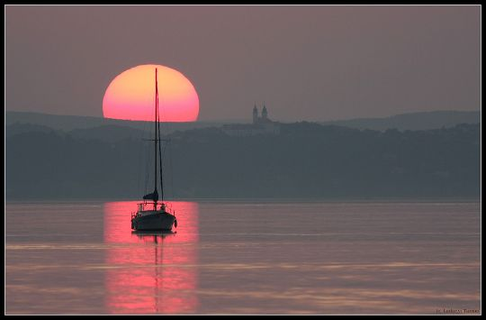 Sunset - Tihany Abbey and the Lake Balaton, Hungary, Photo by Tamás Ladány