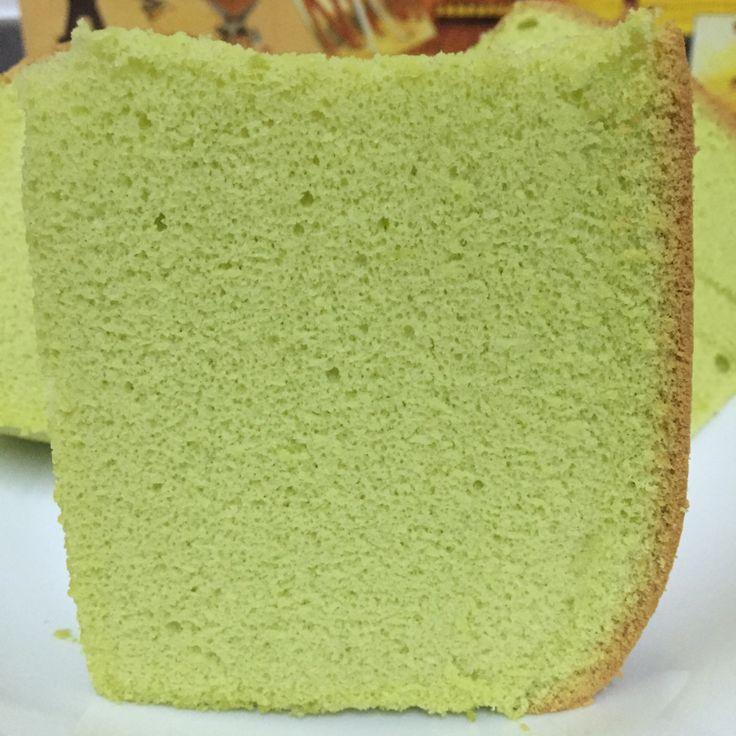 Pandan Sponge Cake using Chiffon (Cooked dough) recipe adapted from Ennety's Orange Chiffon Ingredients: 160g Cake flour 1.5 tsp Clabbergirl double acting baking powder (or 2 tsp bakin…