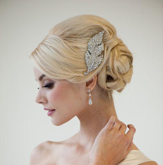 Rhinestone Bridal Hair Brooch Wedding Hair by PowderBlueBijoux,