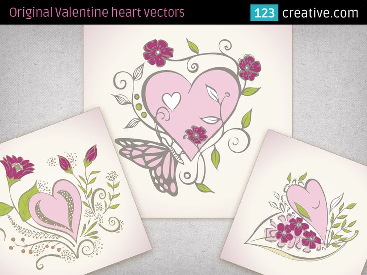 Beautiful Valentine heart vectors for greeting cards - is collection of 3 hand drawing decorative heart motives for Valentine's Day card, paper print materials, lovely design for girls... - Download all images here: http://www.123creative.com/stock-vectors-ornaments/234-beautiful-valentine-heart-vectors-for-greeting-cards.html