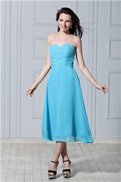Chic & Modern A-line Tea-Length Sweetheart All Sizes Zipper-up Empire Sleeveless Dress