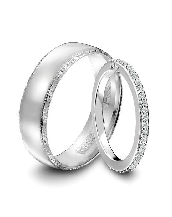 Our Tacori wedding bands to match the engagement ring. I wouldn't mid doing this since our rings are silver. <3