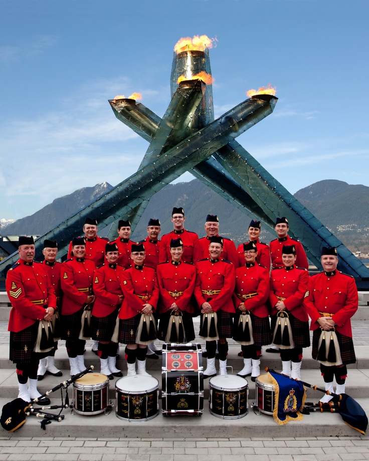 Royal Canadian Mounted Police pipe band at the 2010 Olympics cauldron in Vancouver, British Columbia.