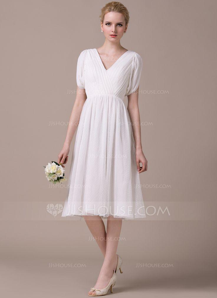 Forme Princesse Col V Longueur genou Mousseline Tulle Robe de mariée avec Plissé (002053057) - JJsHouse