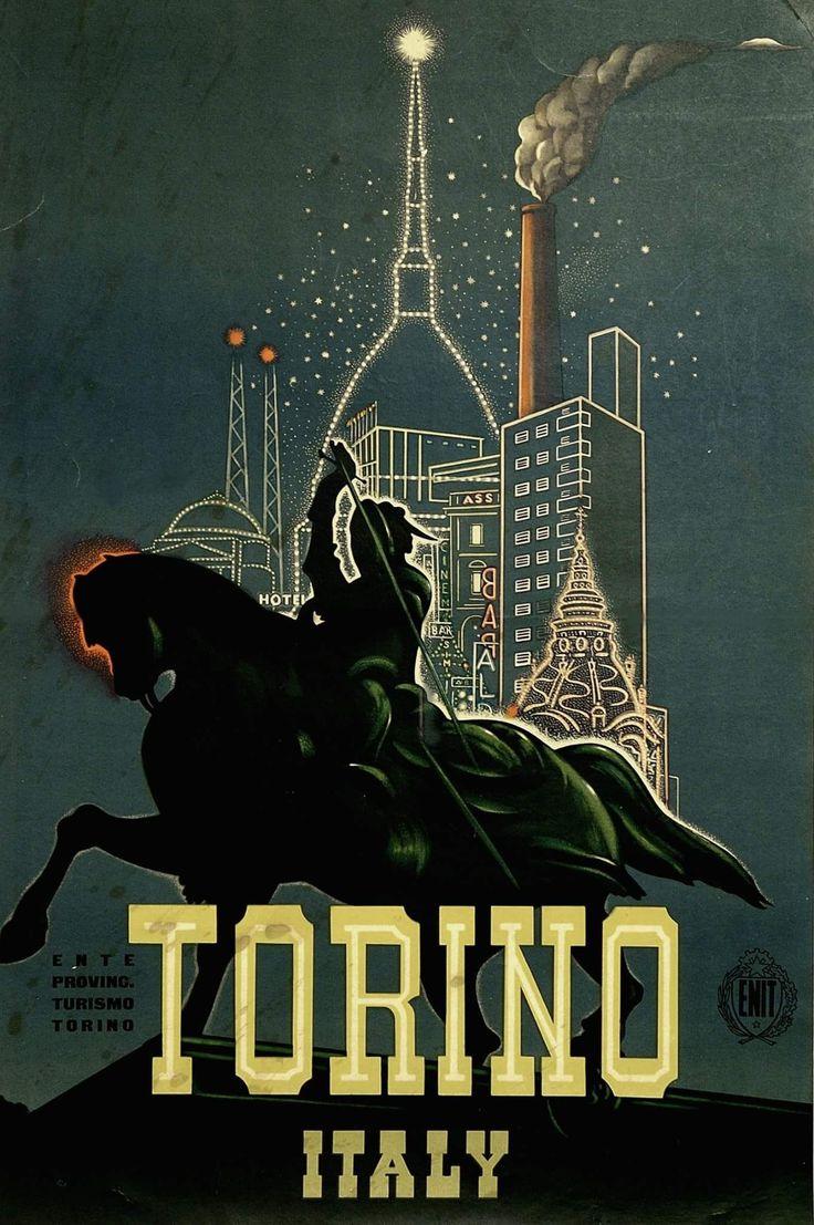 Un raro manifesto di Torino del 1951, (utilizzato per la propaganda turistica) realizzato da Adalberto Campagnoli. Fotografia di Enrico Frignani (fotografato da un antiquario).