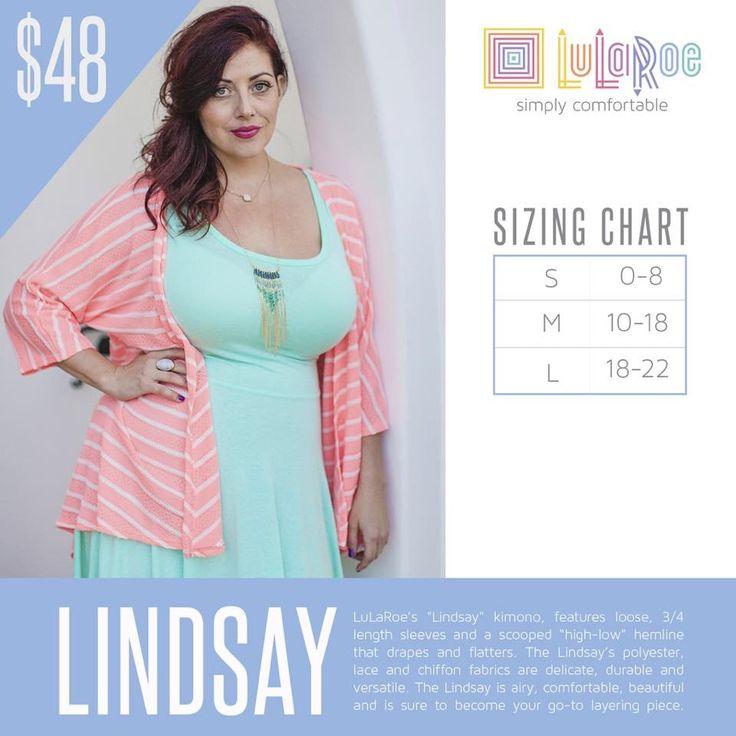 LuLaRoe Lindsay Size Chart https://www.facebook.com/groups/LuLaRoeElizabethColeVIPs/ #lularoelindsay
