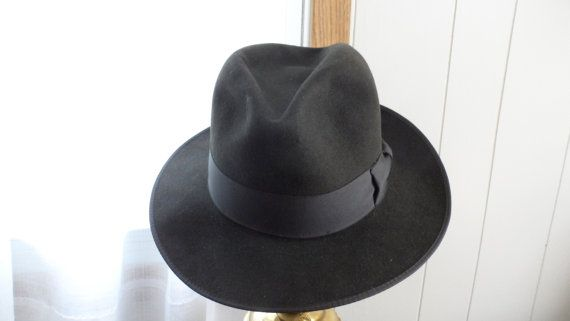 Vintage Charcoal Gray High Crown Fedora/Made by Crean by BYGONERA