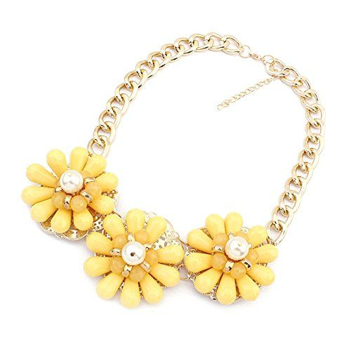 Bold Expressive Lemon Yellow Statement Necklace Flower Bib Bubble Necklace Gift for Women, Her, Bridesmaid, Bride, Wife, Girlfriend www.amazon.com/shops/jewelry_etc_store